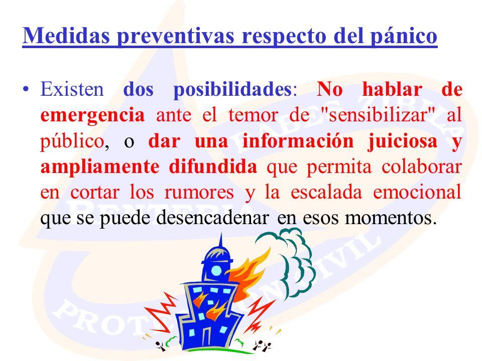 Medidas preventivas respecto del pánico Existen dos posibilidades: No hablar de emergencia ante el temor de