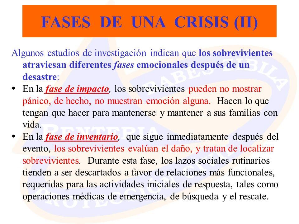 FASES DE UNA CRISIS (II) Algunos estudios de investigación indican que los sobrevivientes atraviesan diferentes fases emocionales después de un desast