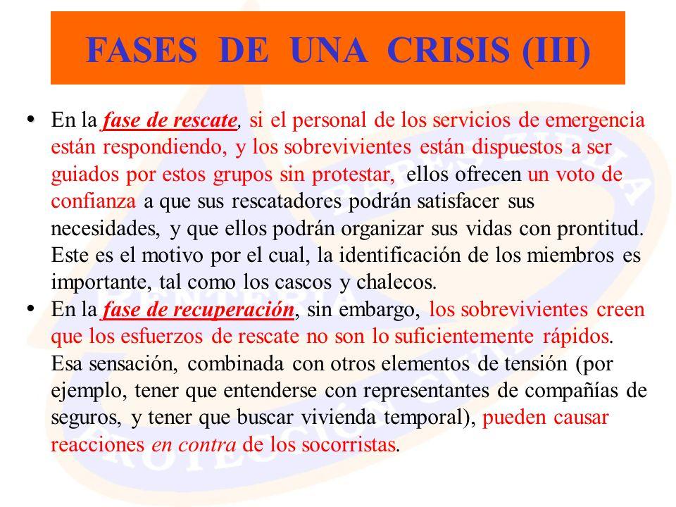 FASES DE UNA CRISIS (III) En la fase de rescate, si el personal de los servicios de emergencia están respondiendo, y los sobrevivientes están dispuest