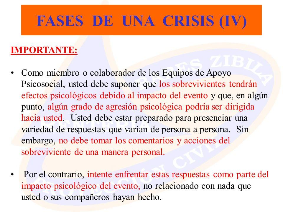 FASES DE UNA CRISIS (IV) IMPORTANTE: Como miembro o colaborador de los Equipos de Apoyo Psicosocial, usted debe suponer que los sobrevivientes tendrán