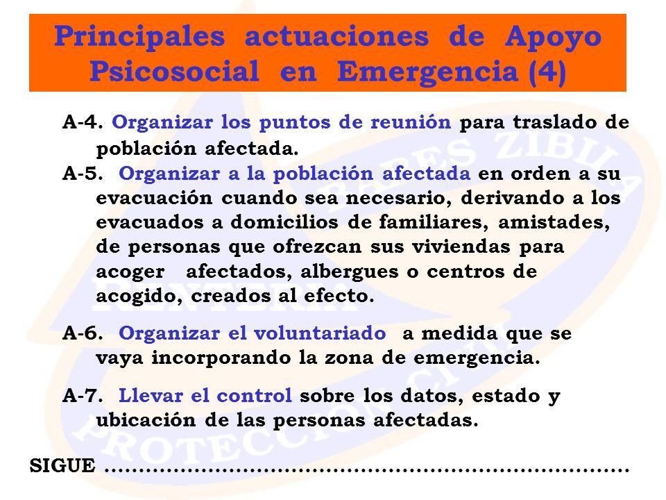 Principales actuaciones de Apoyo Psicosocial en Emergencia (4) A-4. Organizar los puntos de reunión para traslado de población afectada. A-5. Organiza
