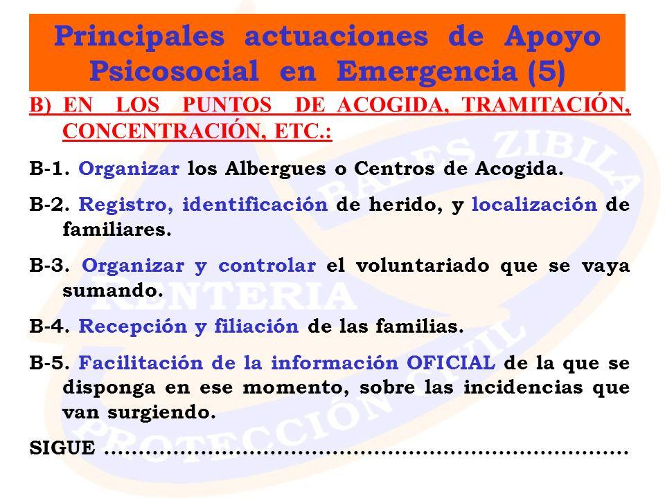 Principales actuaciones de Apoyo Psicosocial en Emergencia (5) B) EN LOS PUNTOS DE ACOGIDA, TRAMITACIÓN, CONCENTRACIÓN, ETC.: B-1. Organizar los Alber