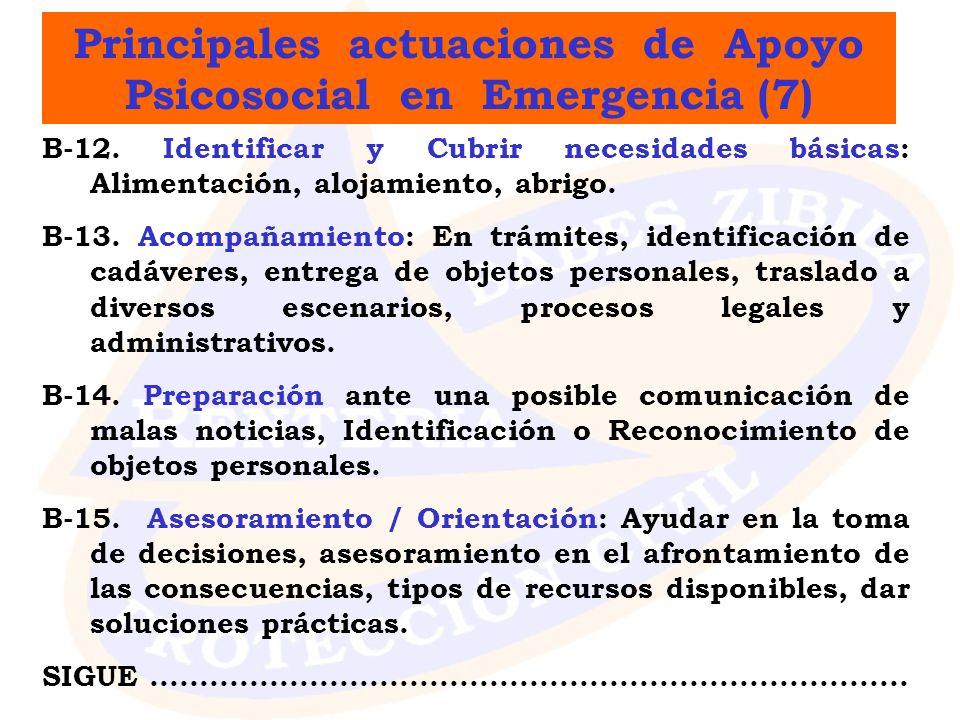 Principales actuaciones de Apoyo Psicosocial en Emergencia (7) B-12. Identificar y Cubrir necesidades básicas: Alimentación, alojamiento, abrigo. B-13