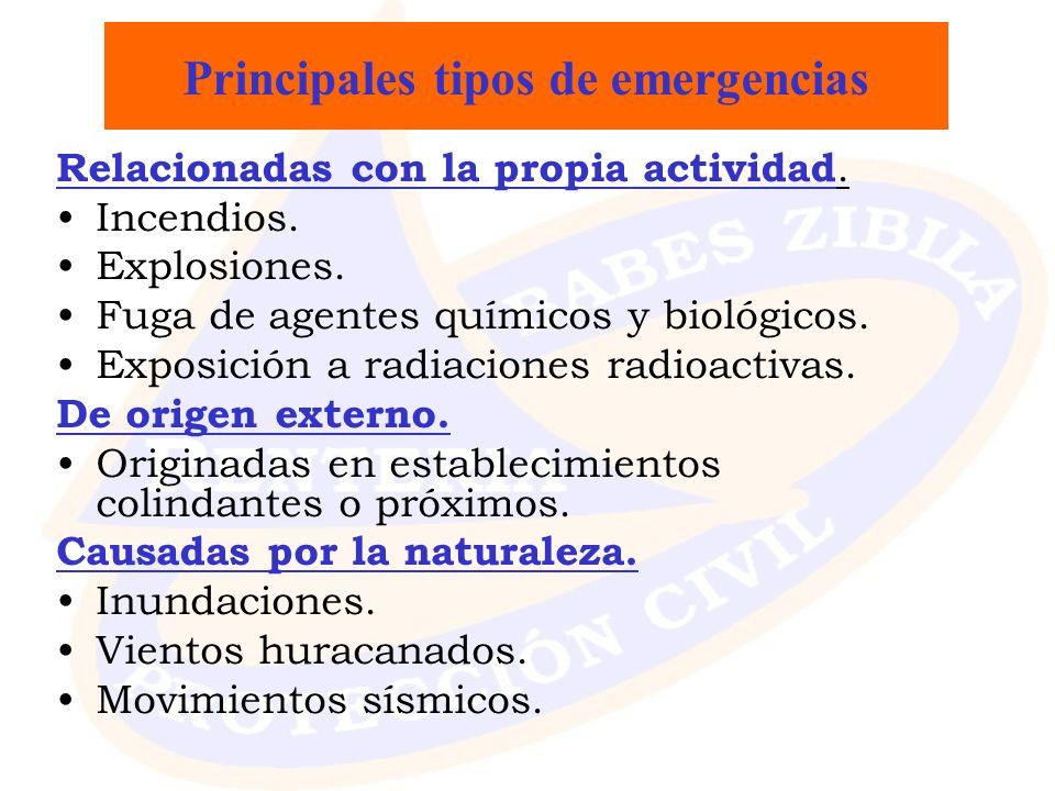 Principales tipos de emergencias Relacionadas con la propia actividad. Incendios. Explosiones. Fuga de agentes químicos y biológicos. Exposición a rad