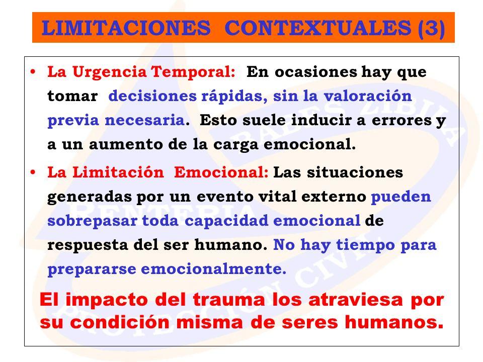 La Urgencia Temporal: En ocasiones hay que tomar decisiones rápidas, sin la valoración previa necesaria. Esto suele inducir a errores y a un aumento d