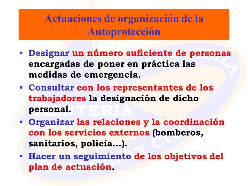 Actuaciones de organización de la Autoprotección Designar un número suficiente de personas encargadas de poner en práctica las medidas de emergencia.