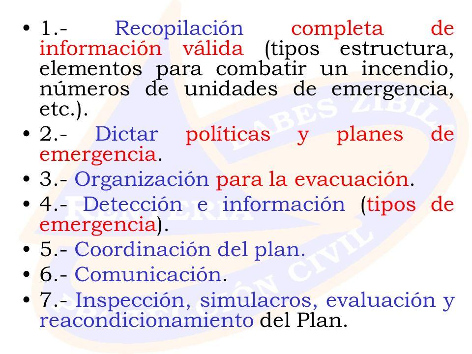 1.- Recopilación completa de información válida (tipos estructura, elementos para combatir un incendio, números de unidades de emergencia, etc.). 2.-