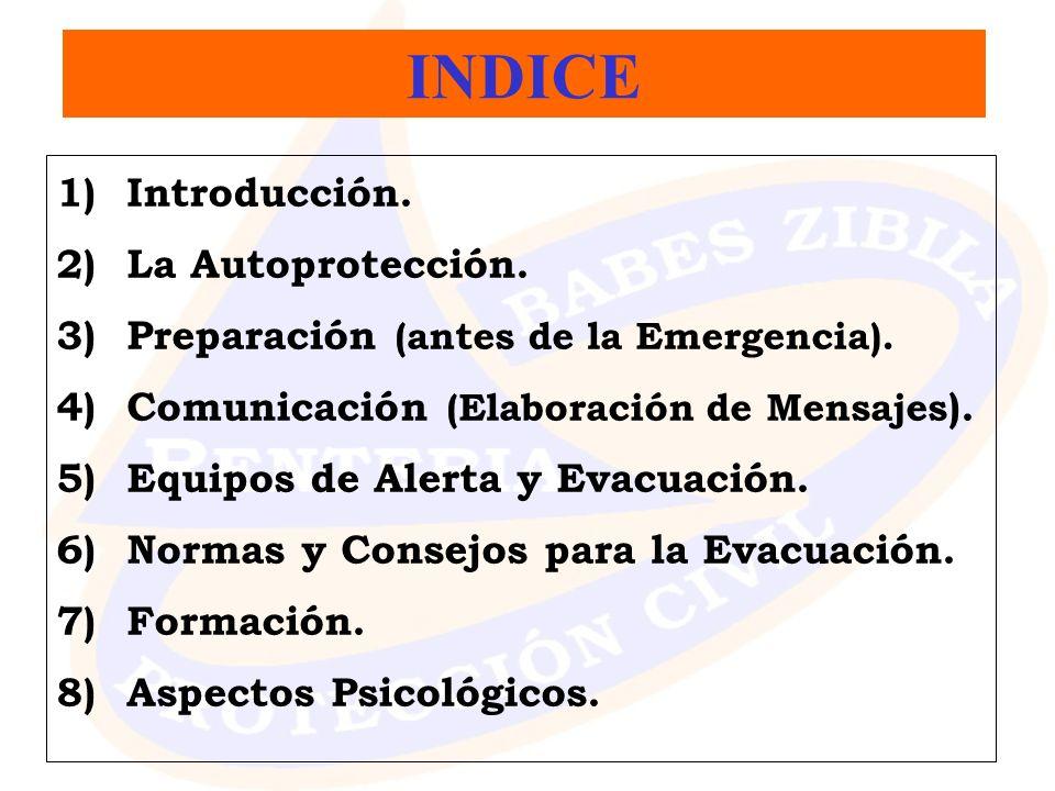 1)Introducción. 2)La Autoprotección. 3)Preparación (antes de la Emergencia). 4)Comunicación (Elaboración de Mensajes ). 5)Equipos de Alerta y Evacuaci