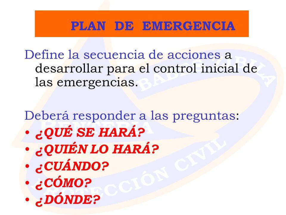 P LAN DE EMERGENCIA Define la secuencia de acciones a desarrollar para el control inicial de las emergencias. Deberá responder a las preguntas: ¿QUÉ S