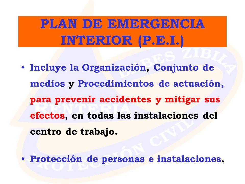 PLAN DE EMERGENCIA INTERIOR (P.E.I.) Incluye la Organización, Conjunto de medios y Procedimientos de actuación, para prevenir accidentes y mitigar sus