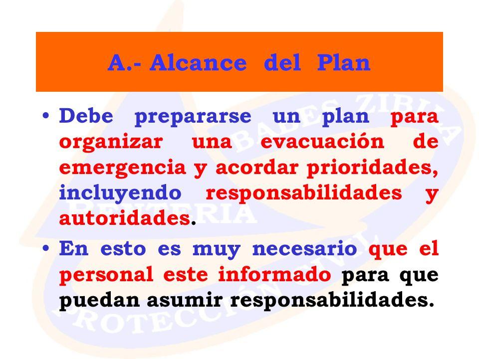 A.- Alcance del Plan Debe prepararse un plan para organizar una evacuación de emergencia y acordar prioridades, incluyendo responsabilidades y autorid