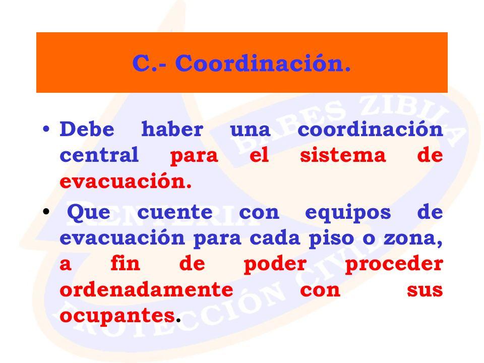 C.- Coordinación. Debe haber una coordinación central para el sistema de evacuación. Que cuente con equipos de evacuación para cada piso o zona, a fin