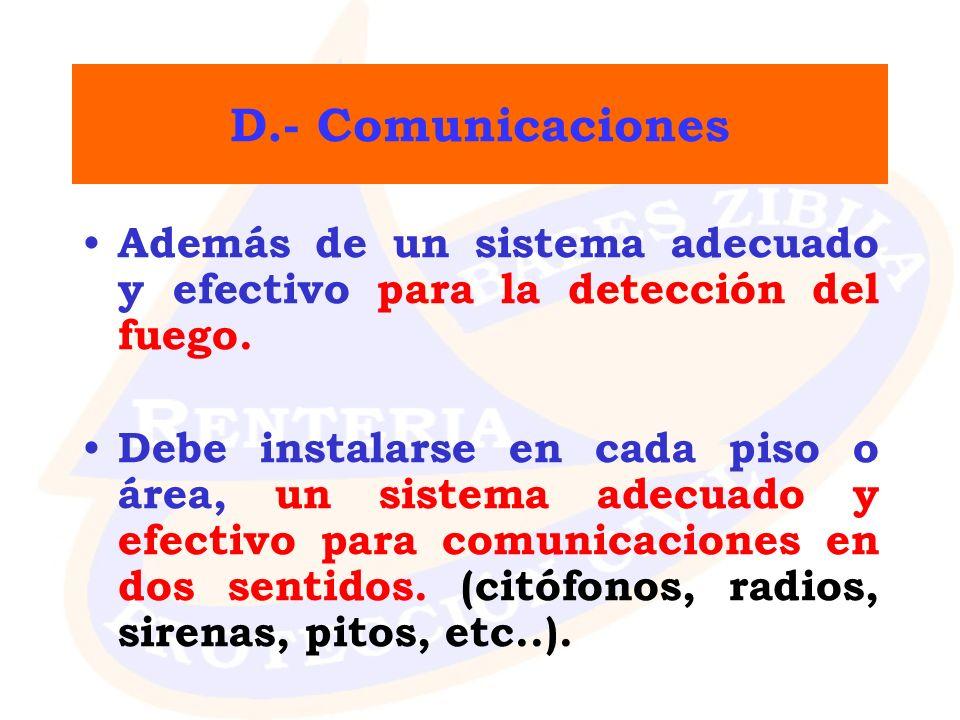 D.- Comunicaciones Además de un sistema adecuado y efectivo para la detección del fuego. Debe instalarse en cada piso o área, un sistema adecuado y ef