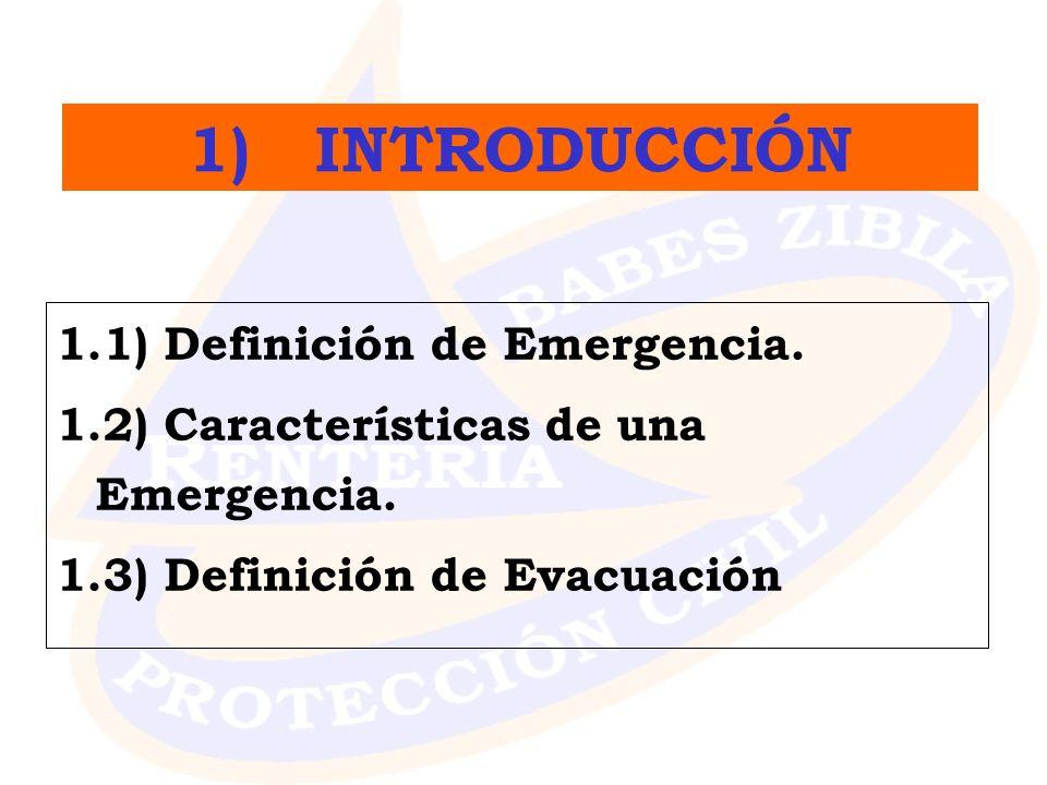 1.1) Definición de Emergencia. 1.2) Características de una Emergencia. 1.3) Definición de Evacuación 1) INTRODUCCIÓN