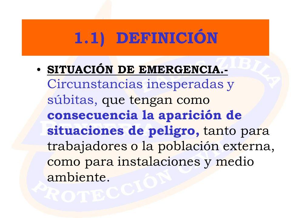 1.1) DEFINICIÓN SITUACIÓN DE EMERGENCIA.- Circunstancias inesperadas y súbitas, que tengan como consecuencia la aparición de situaciones de peligro, t