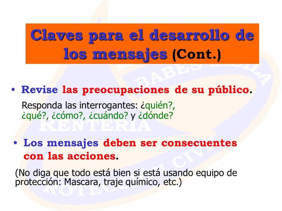 Claves para el desarrollo de los mensajes Claves para el desarrollo de los mensajes (Cont.) Revise las preocupaciones de su público. Los mensajes debe