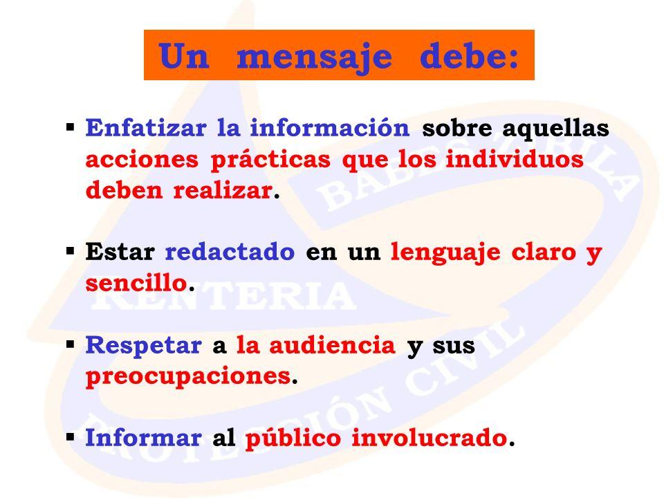 Enfatizar la información sobre aquellas acciones prácticas que los individuos deben realizar. Estar redactado en un lenguaje claro y sencillo. Respeta
