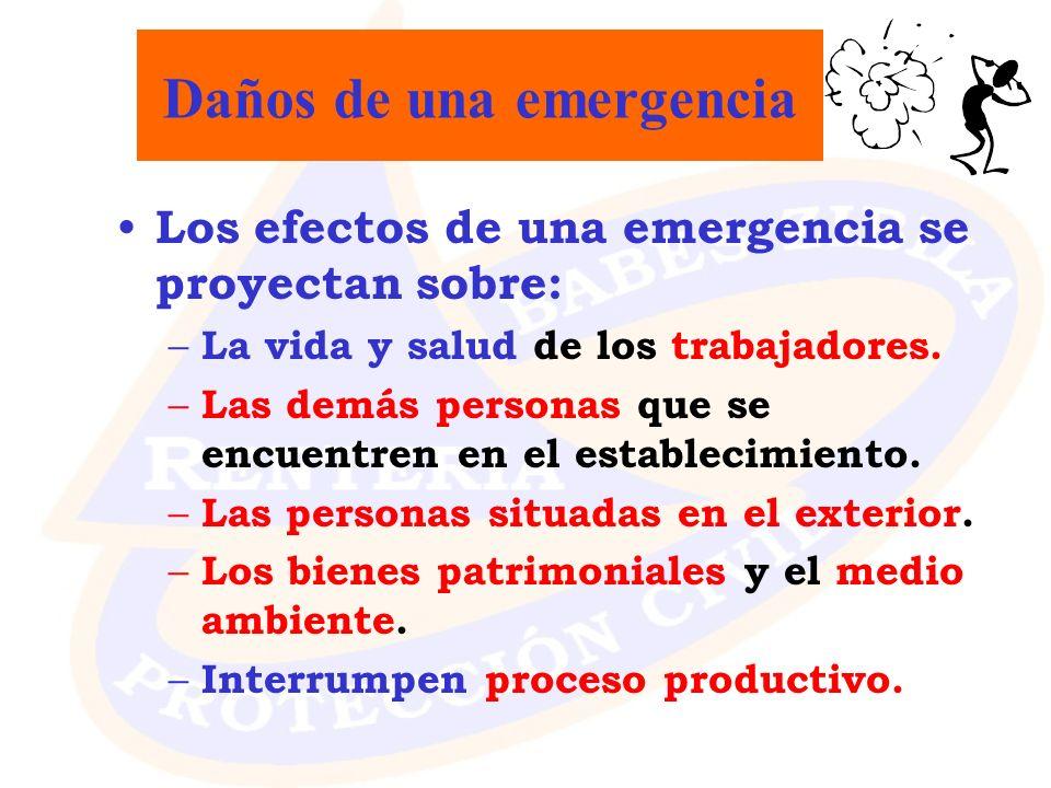 Daños de una emergencia Los efectos de una emergencia se proyectan sobre: – La vida y salud de los trabajadores. – Las demás personas que se encuentre