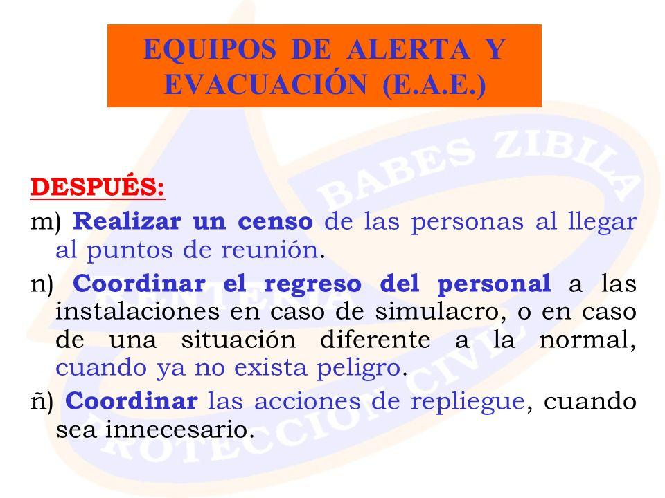 DESPUÉS: m) Realizar un censo de las personas al llegar al puntos de reunión. n) Coordinar el regreso del personal a las instalaciones en caso de simu