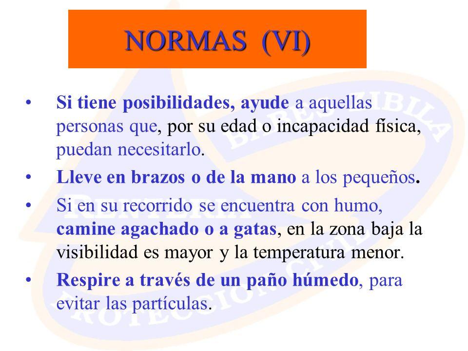 NORMAS (VI) Si tiene posibilidades, ayude a aquellas personas que, por su edad o incapacidad física, puedan necesitarlo. Lleve en brazos o de la mano