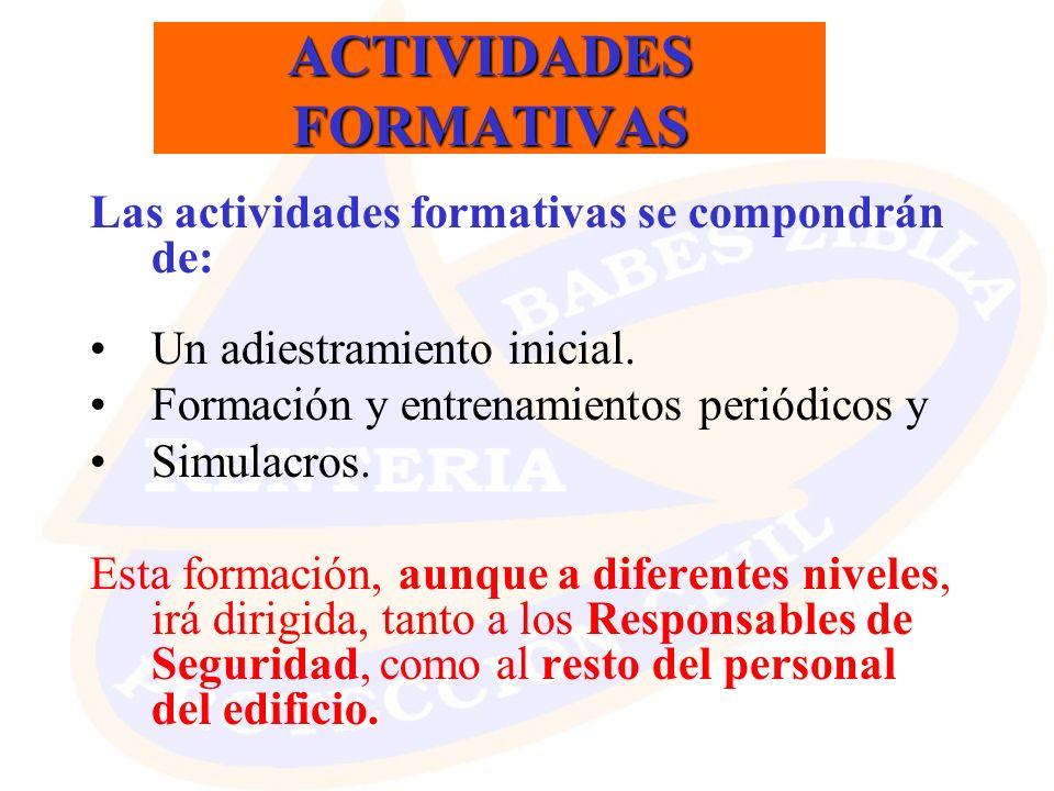 ACTIVIDADES FORMATIVAS Las actividades formativas se compondrán de: Un adiestramiento inicial. Formación y entrenamientos periódicos y Simulacros. Est