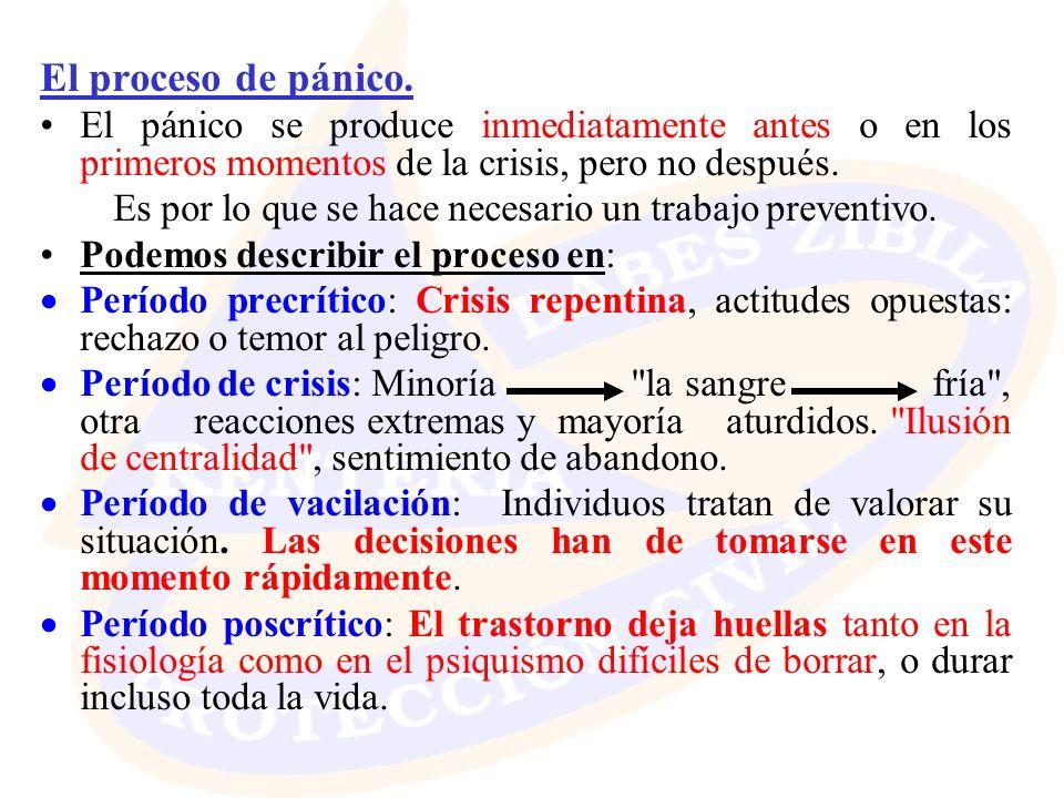 El proceso de pánico. El pánico se produce inmediatamente antes o en los primeros momentos de la crisis, pero no después. Es por lo que se hace necesa