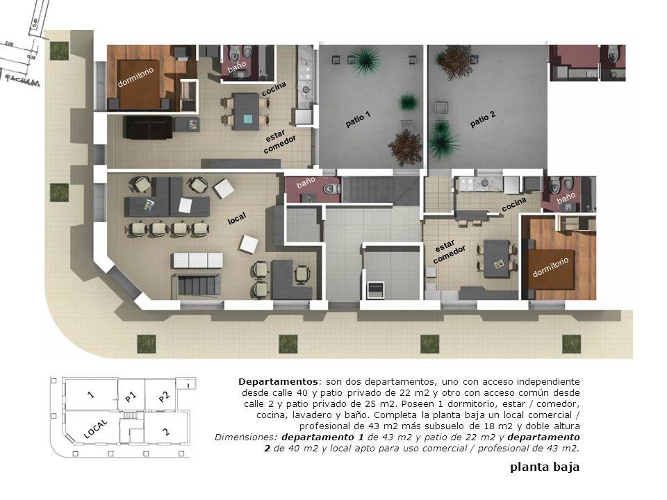 local estar comedor dormitorio cocina baño patio 2patio 1 dormitorio baño cocina Departamentos: son dos departamentos, uno con acceso independiente de