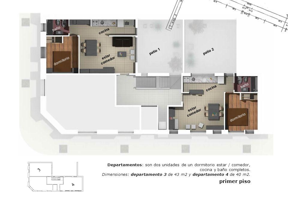 estar comedor dormitorio cocina baño patio 2patio 1 dormitorio baño cocina Departamentos: son dos unidades de un dormitorio estar / comedor, cocina y