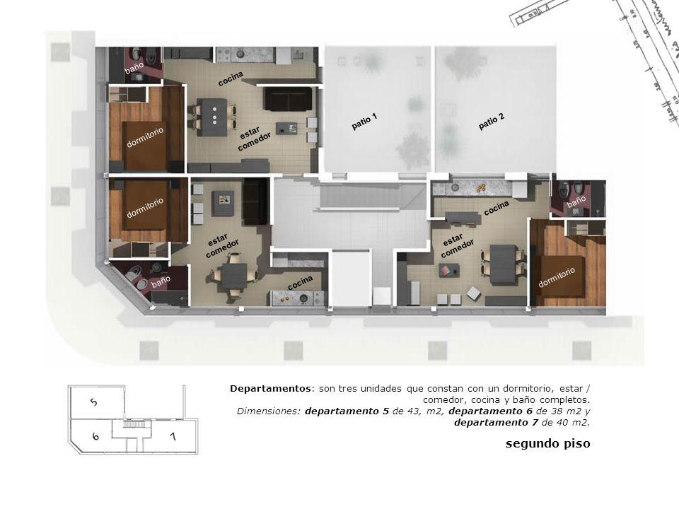 estar comedor dormitorio cocina baño patio 2patio 1 dormitorio baño cocina Departamentos: son tres unidades que constan con un dormitorio, estar / com