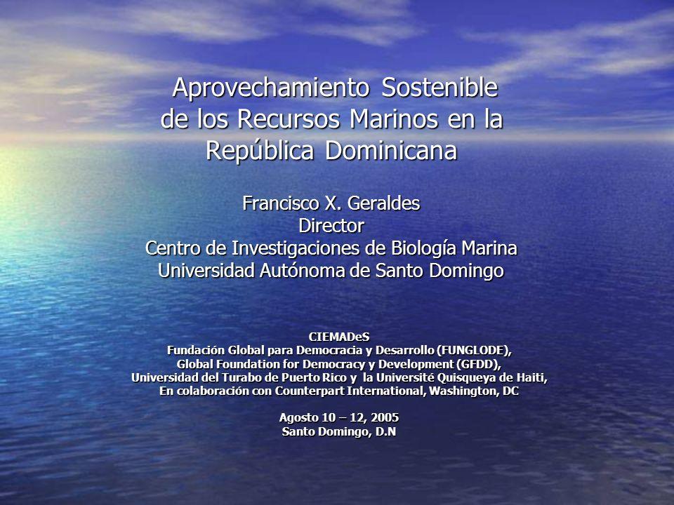 Aprovechamiento Sostenible de los Recursos Marinos Situación Actual A partir del a ñ o 2000 la Republica Dominicana crea la Secretar í a de Estado de Medio Ambiente y Recursos Naturales, la cual ejecuta las gestiones sectoriales del recurso costero marino, se designan funciones administrativas del sector a: A partir del a ñ o 2000 la Republica Dominicana crea la Secretar í a de Estado de Medio Ambiente y Recursos Naturales, la cual ejecuta las gestiones sectoriales del recurso costero marino, se designan funciones administrativas del sector a: –Subsecretaria de Estado de Recursos Costeros Marinos (SERCM), –Subsecretaria de Estado de Gesti ó n Ambiental (SGA), –Subsecretaria de Estado de Areas Protegidas y Biodiversidad (SEAPB), –Instituto Nacional de Recursos Hidr á ulicos (INDRHI) –El Acuario Nacional