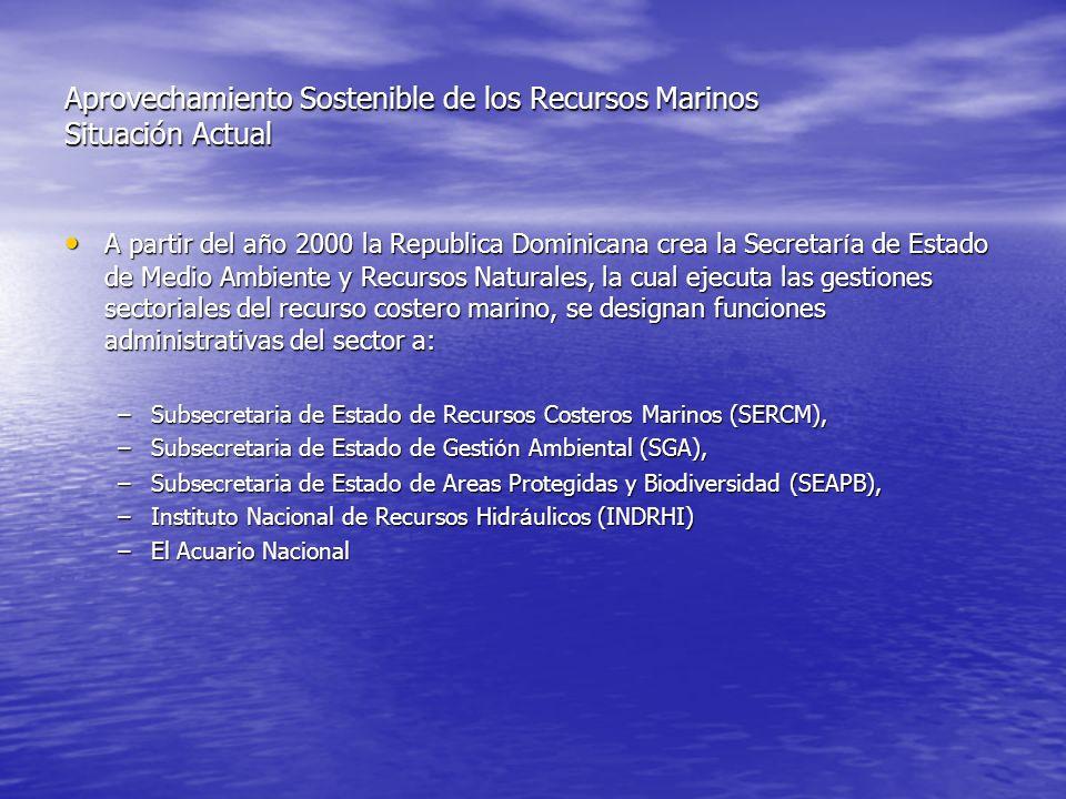 Aprovechamiento Sostenible de los Recursos Marinos Situación Actual A partir del a ñ o 2000 la Republica Dominicana crea la Secretar í a de Estado de