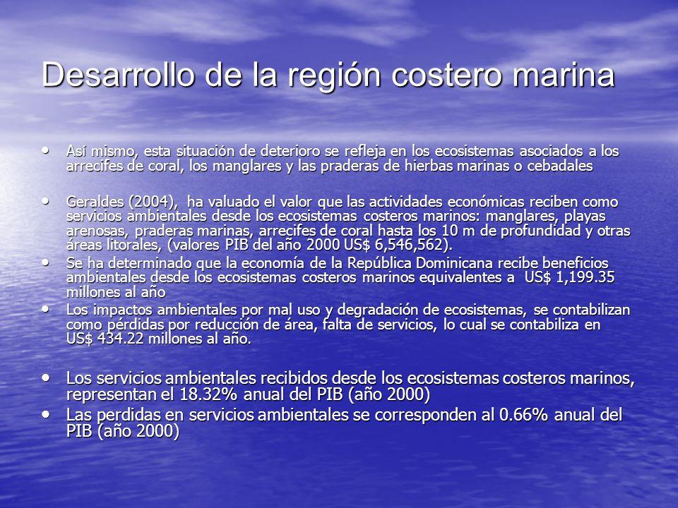 Desarrollo de la región costero marina As í mismo, esta situaci ó n de deterioro se refleja en los ecosistemas asociados a los arrecifes de coral, los