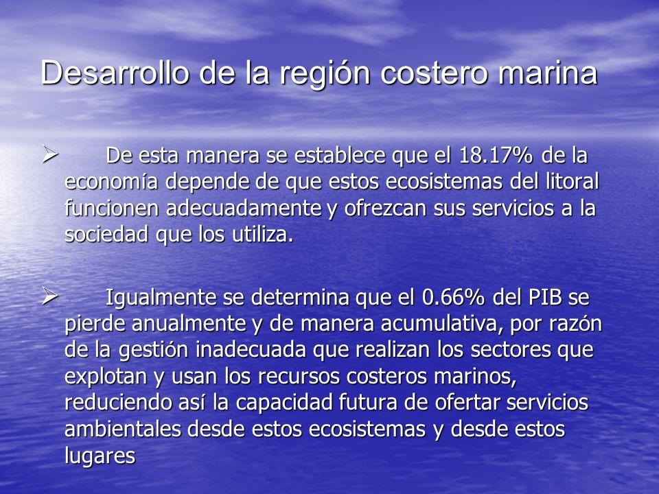 Desarrollo de la región costero marina De esta manera se establece que el 18.17% de la econom í a depende de que estos ecosistemas del litoral funcion