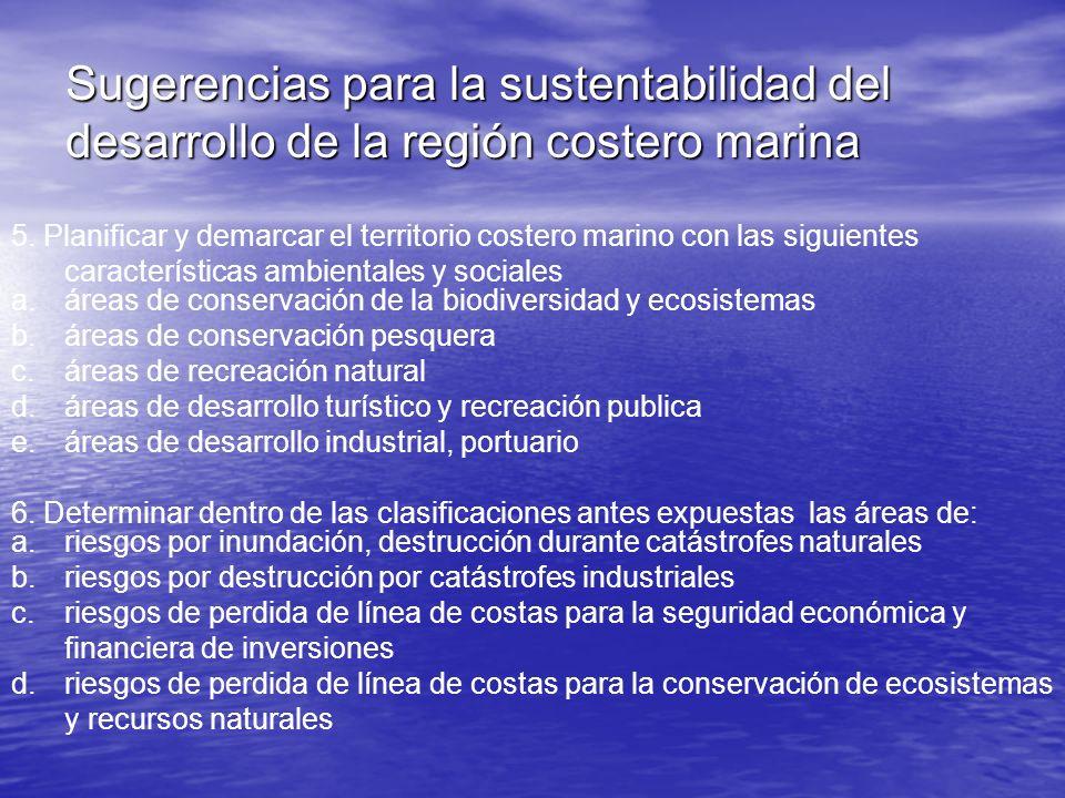 Sugerencias para la sustentabilidad del desarrollo de la región costero marina 5. Planificar y demarcar el territorio costero marino con las siguiente