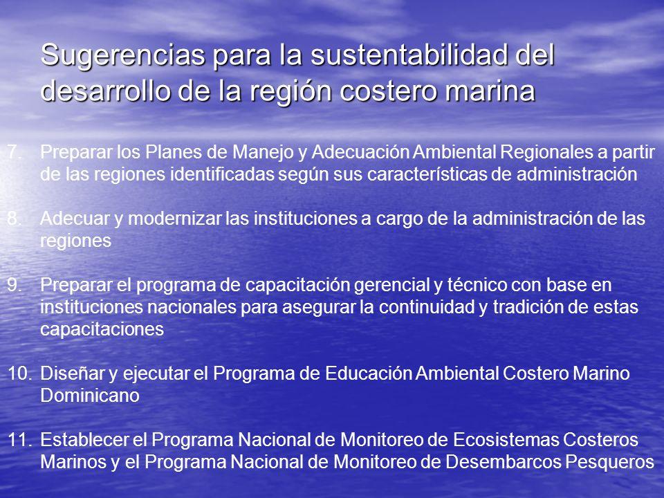 Sugerencias para la sustentabilidad del desarrollo de la región costero marina 7.Preparar los Planes de Manejo y Adecuación Ambiental Regionales a par