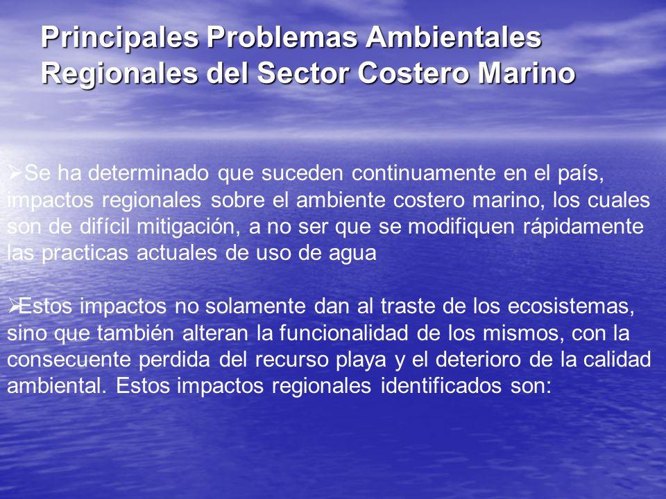 Se ha determinado que suceden continuamente en el país, impactos regionales sobre el ambiente costero marino, los cuales son de difícil mitigación, a