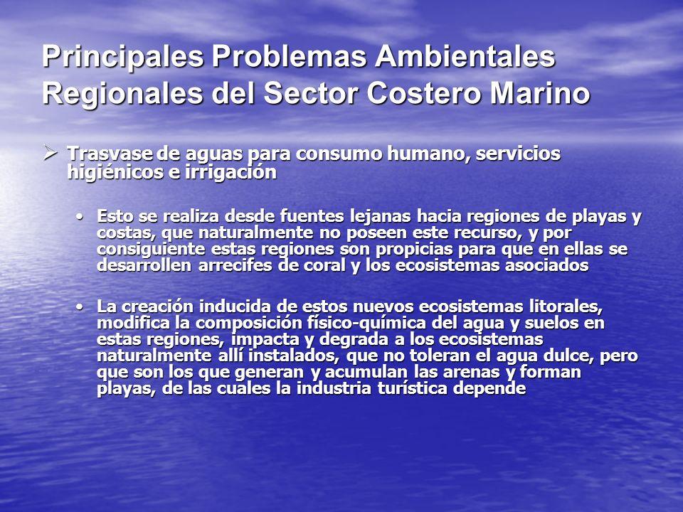 Principales Problemas Ambientales Regionales del Sector Costero Marino Trasvase de aguas para consumo humano, servicios higiénicos e irrigación Trasva