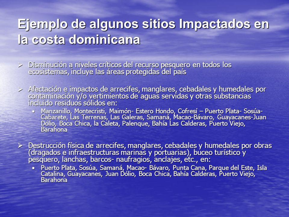 Ejemplo de algunos sitios Impactados en la costa dominicana Disminución a niveles críticos del recurso pesquero en todos los ecosistemas, incluye las