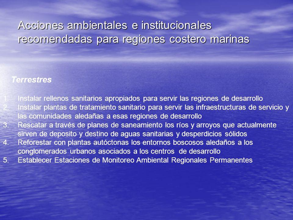 Acciones ambientales e institucionales recomendadas para regiones costero marinas Terrestres 1.Instalar rellenos sanitarios apropiados para servir las