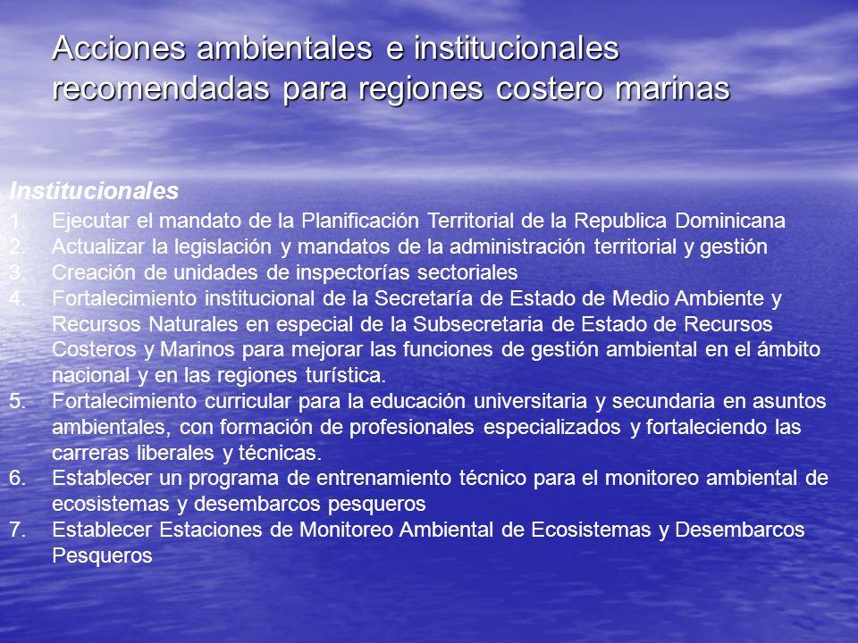 Acciones ambientales e institucionales recomendadas para regiones costero marinas Institucionales 1.Ejecutar el mandato de la Planificación Territoria
