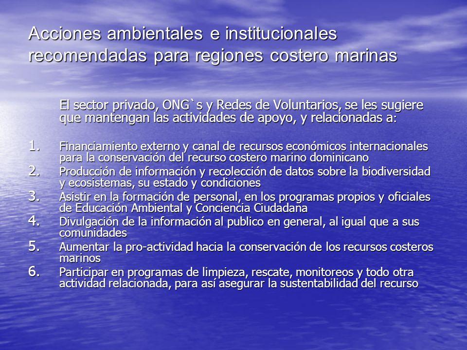 Acciones ambientales e institucionales recomendadas para regiones costero marinas El sector privado, ONG`s y Redes de Voluntarios, se les sugiere que
