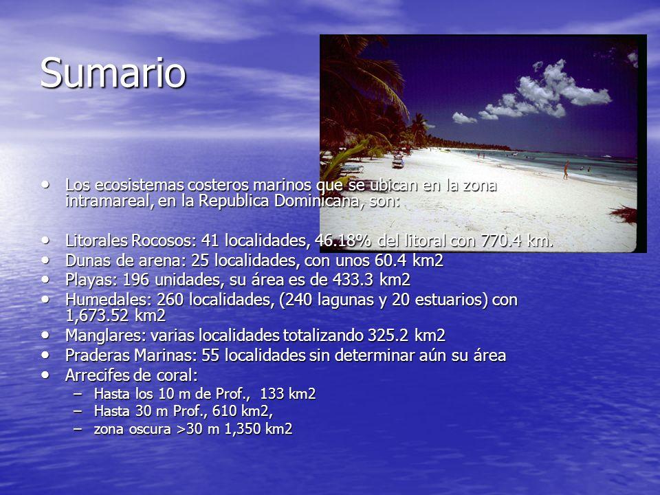 Sumario Los ecosistemas costeros marinos que se ubican en la zona intramareal, en la Republica Dominicana, son: Los ecosistemas costeros marinos que s