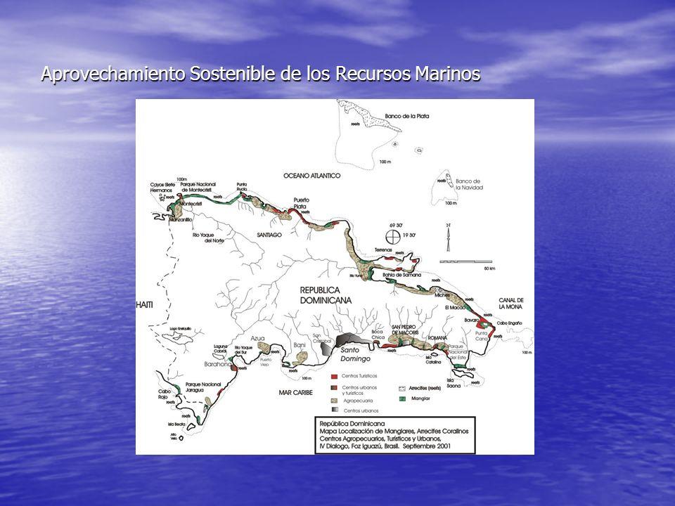 Sumario Los ecosistemas costeros marinos que se ubican en la zona intramareal, en la Republica Dominicana, son: Los ecosistemas costeros marinos que se ubican en la zona intramareal, en la Republica Dominicana, son: Litorales Rocosos: 41 localidades, 46.18% del litoral con 770.4 km.