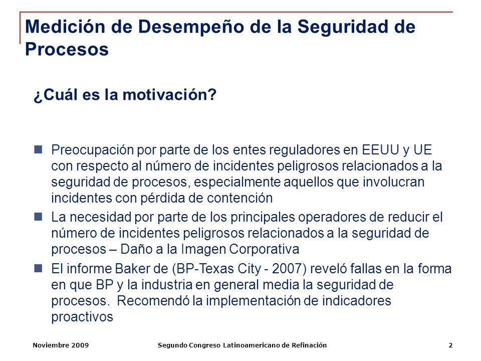Noviembre 2009Segundo Congreso Latinoamericano de Refinación2 ¿Cuál es la motivación? Preocupación por parte de los entes reguladores en EEUU y UE con
