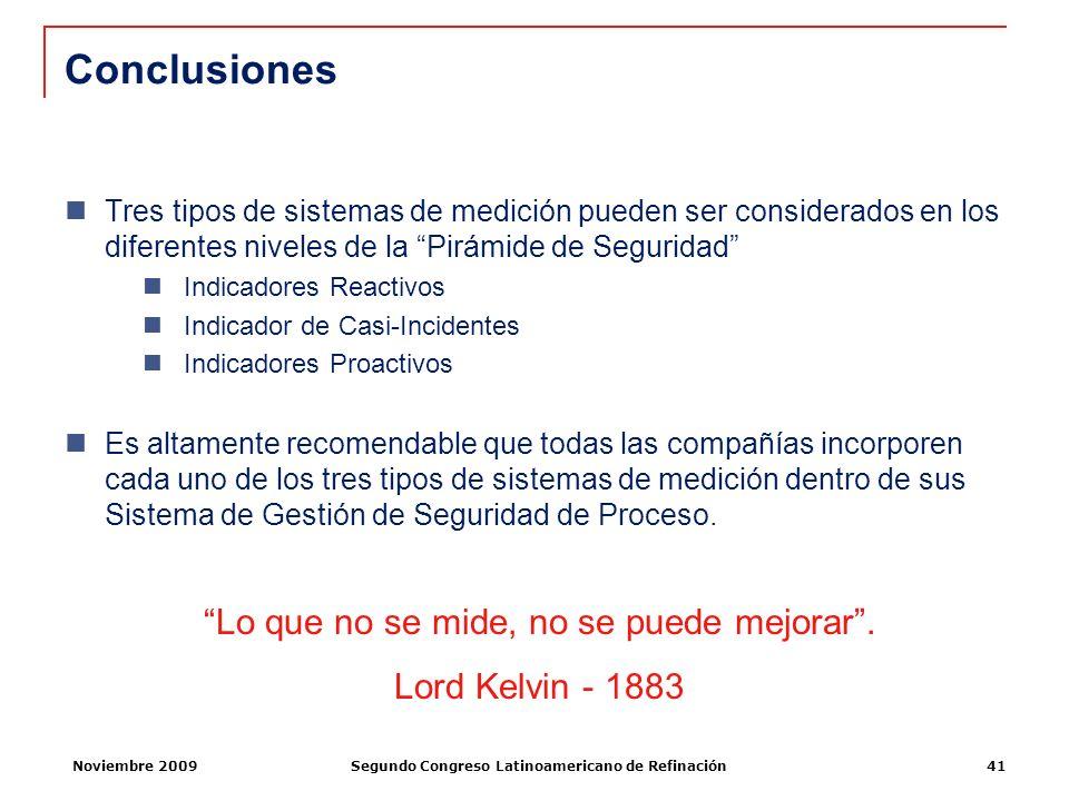 Noviembre 2009Segundo Congreso Latinoamericano de Refinación41 Conclusiones Tres tipos de sistemas de medición pueden ser considerados en los diferent
