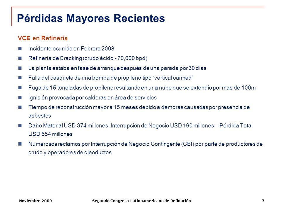 Noviembre 2009Segundo Congreso Latinoamericano de Refinación7 VCE en Refinería Incidente ocurrido en Febrero 2008 Refinería de Cracking (crudo ácido -