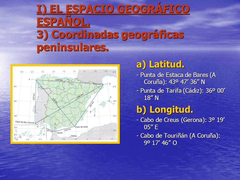 I) EL ESPACIO GEOGRÁFICO ESPAÑOL. 3) Coordinadas geográficas peninsulares. a) Latitud. - Punta de Estaca de Bares (A Coruña): 43º 47 36 N - Punta de T