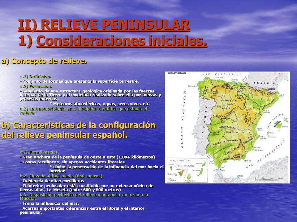 II) RELIEVE PENINSULAR 1) Consideraciones iniciales. a) Concepto de relieve. a.1) Definición. - Conjunto de formas que presenta la superficie terrestr