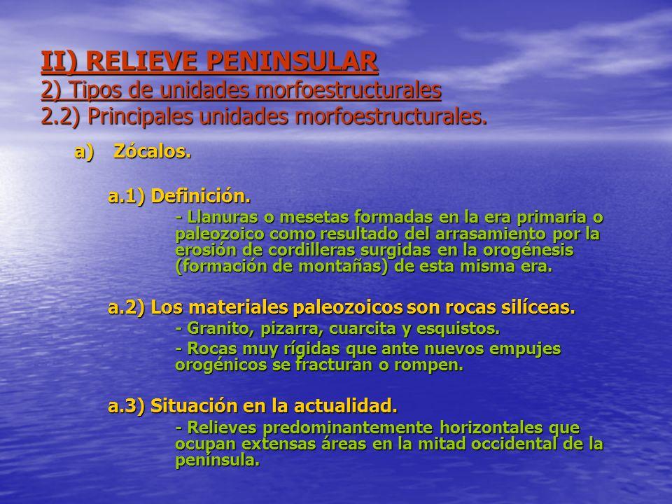 II) RELIEVE PENINSULAR 2) Tipos de unidades morfoestructurales 2.2) Principales unidades morfoestructurales. a)Zócalos. a.1) Definición. - Llanuras o