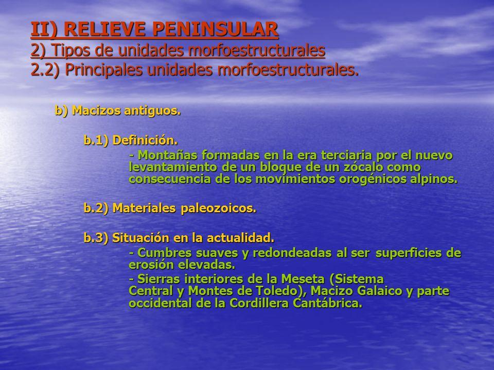 II) RELIEVE PENINSULAR 2) Tipos de unidades morfoestructurales 2.2) Principales unidades morfoestructurales. b) Macizos antiguos. b.1) Definición. - M